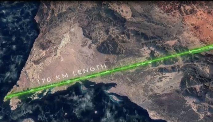 De 170 kilometer lange stad wordt aangelegd aan de Rode Zee.