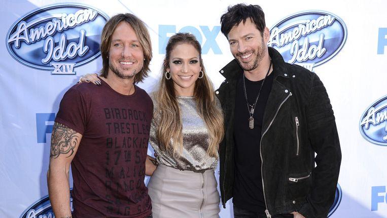 Juryleden van de 15e American Idol: Keith Urban, Jeniifer Lopez en Harry Connick, Jr. Beeld AP