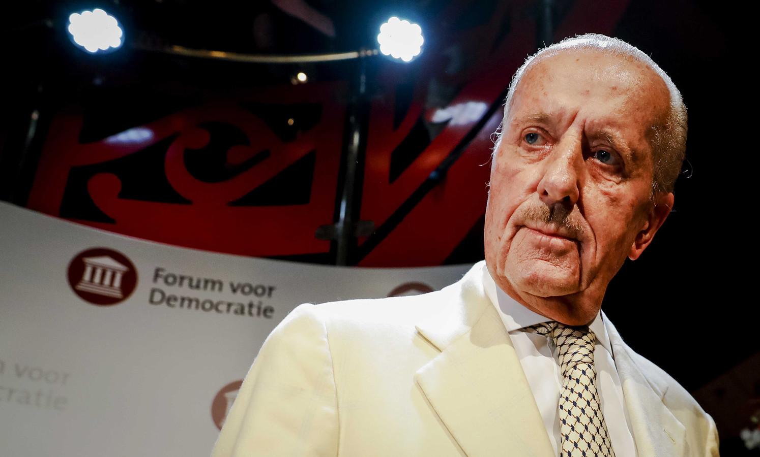 Theo Hiddema van Forum voor Democratie (FvD) tijdens de uitslagenavond van de Provinciale Statenverkiezingen.