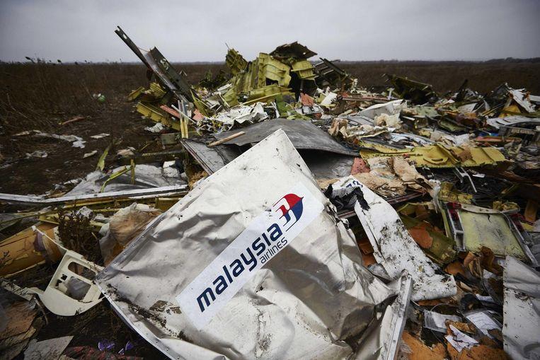 Wrakstukken van de MH17.  Beeld anp