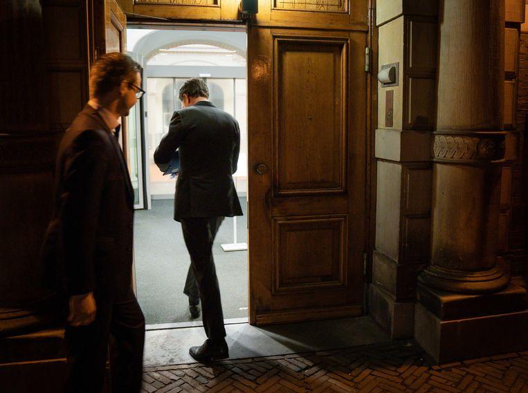 Mark Rutte (VVD) na afloop van het debat in de Tweede Kamer  over de mislukte formatieverkenning. Aan de verkenning kwam afgelopen week abrupt een einde toen details over de gesprekken door een blunder van verkenner Kajsa Ollongren op straat kwamen te liggen.  Beeld ANP