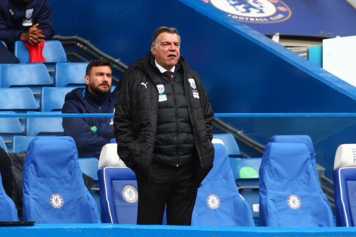Sam Allardyce afgelopen zaterdag tijdens Chelsea - West Bromwich Albion (2-5) op Stamford Bridge.
