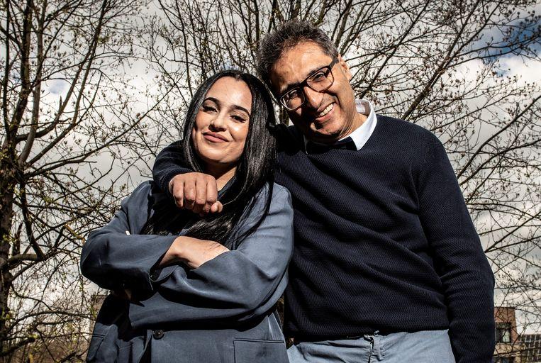Sarah Mahassine naast haar vader Chokri, de bekende Pukkelpop-organisator.  Beeld Marco Mertens