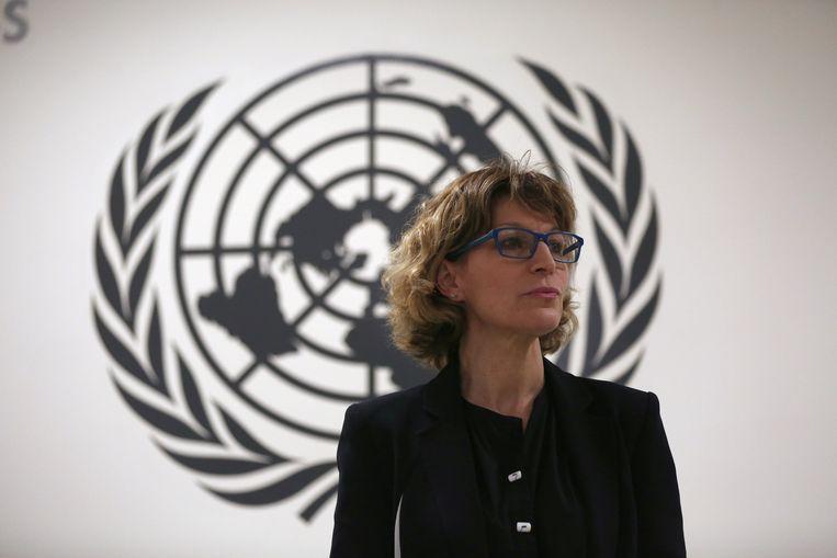 Agnes Callamard (C), speciaal rapporteur buitengerechtelijke executies van de VN. Beeld REUTERS
