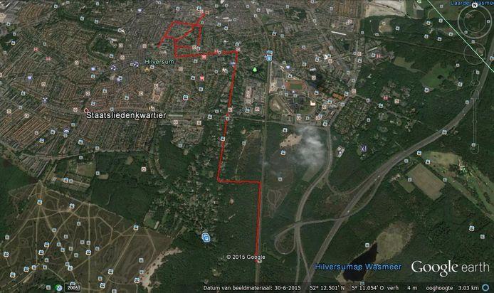 De route die Dascha volgens speurhond Pebble heeft gelopen enkele uren voor haar dood