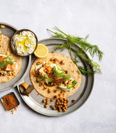 Wat Eten We Vandaag: Ras El Hanout zalmtaco's met tzatziki