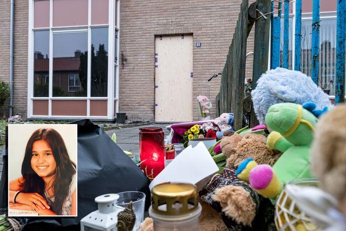 Bloemen voor Lindsey Ngo (inzet) bij haar woning in de Gounodstraat in Amersfoort.