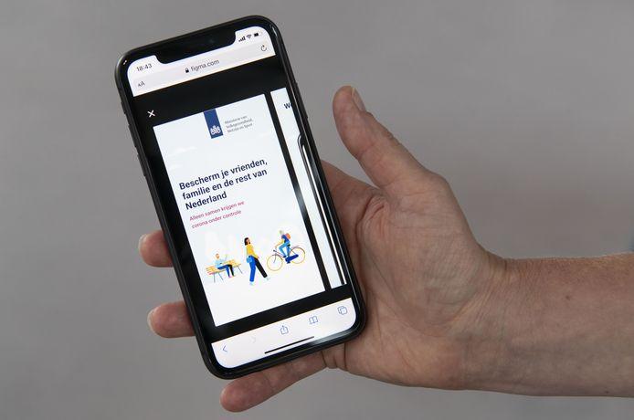 Een van de schermen van de corona-meld-app.