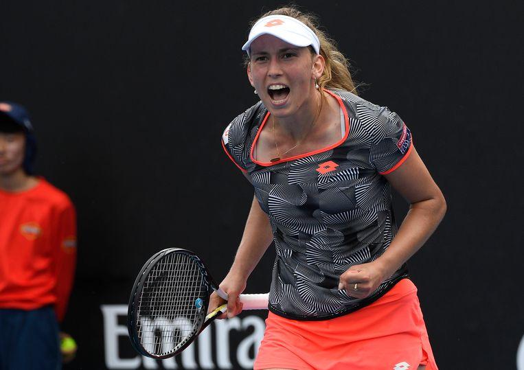 Elise Mertens na haar winst tegen Anna Karolina Schmiedlova in Melbourne. Beeld AP