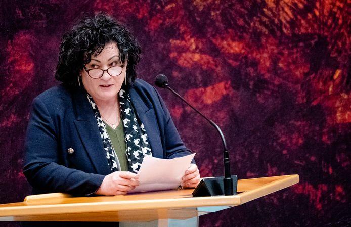 Caroline van der Plas (BBB) in de Tweede Kamer tijdens een debat over de ontwikkelingen rondom het coronavirus.