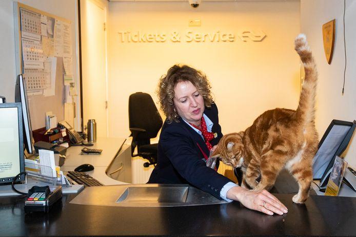 Sunny op haar vertrouwde stek, die dreigt te sluiten. Niet alleen de stationskat, maar ook voor reizigers pakt dat slecht uit, waarschuwt NS-personeel.