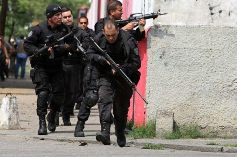 De Braziliaanse politie in actie. EPA Beeld