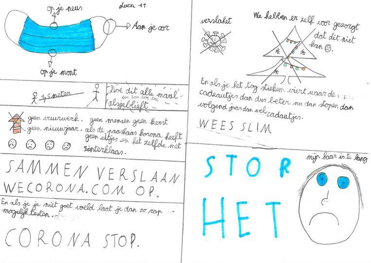 Kindertekeningen over corona Beeld HUMO