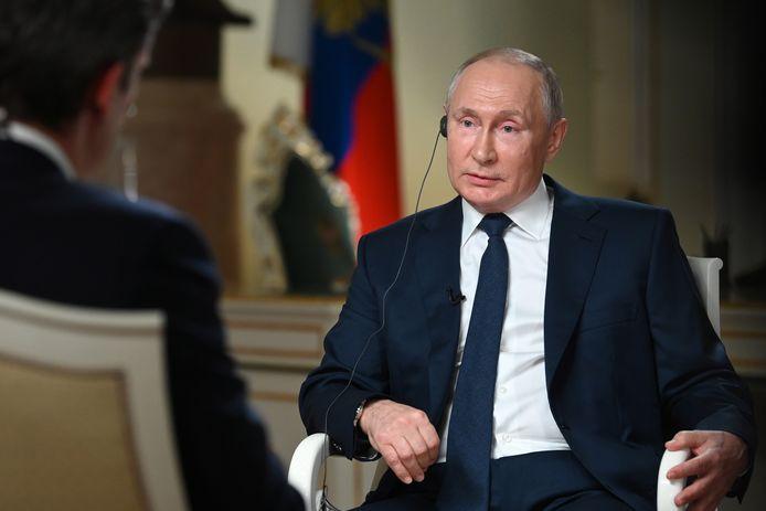 Poetin tijdens het interview met NBC News in het Kremlin.
