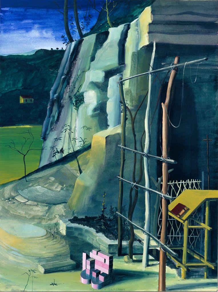 Olphaert den Otter - uit de Stal- en Kluismorfologieserie: Niet Sint Fransciscus van Bellini, 2004, ei-tempera op papier, 61 x 46 cm. Beeld Pieter Vandermeer