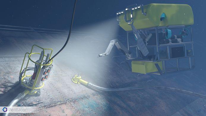 Pentacon ontwikkelde onder meer een systeem dat olie uit een gezonken scheepswrak kan halen.