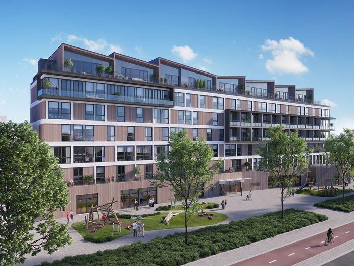 Impressie van hoe het beeldbepalende gebouw aan de Noordendijk er tegen het einde van 2021 uitziet.
