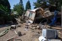 Ook campings, hier in Esneux, zijn volledig vernield door het water.