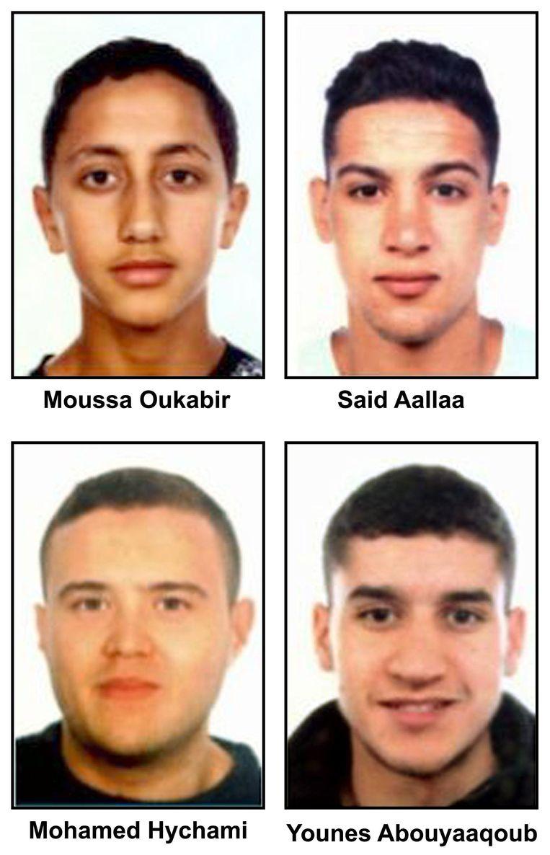De vier aanslagplegers uit Ripoll. Beeld ANP
