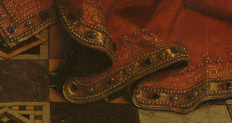 Detail van 'De Maagd van kanselier Rolin'.  Beeld Van Eyck