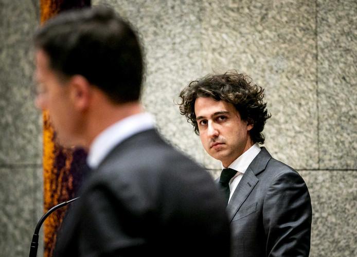 Jesse Klaver (GroenLinks) en premier Mark Rutte (VVD) afgelopen dinsdag tijdens het wekelijkse vragenuur in de Tweede Kamer.