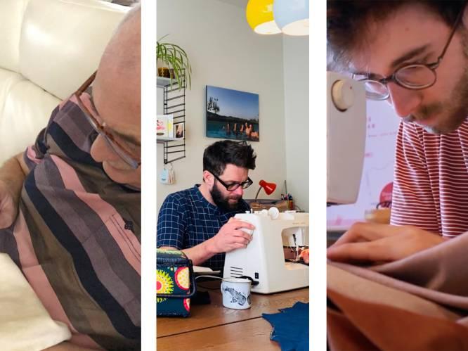 """Steeds meer mannen naaien. Vlaamse 'sew bros' Ruben (24), John (43) en Glyn (64) over hun passie voor stof en schaar: """"Ik naai, weg met de vooroordelen"""""""