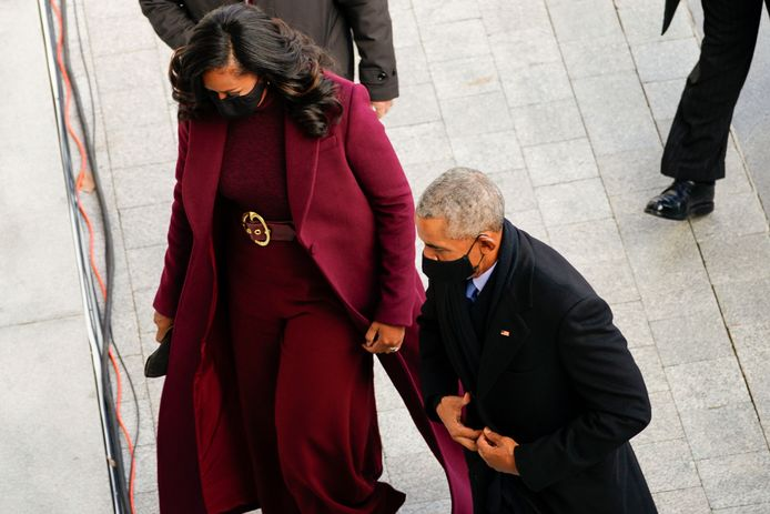 Former President Barack Obama and his wife Michelle arrives at the U.S. Capitol ahead of President-elect Joe Bidenâęs inauguration at the U.S. Capitol in Washington, Wednesday, Jan. 20, 2021. (Melina Mara/The Washington Post via AP, Pool)
