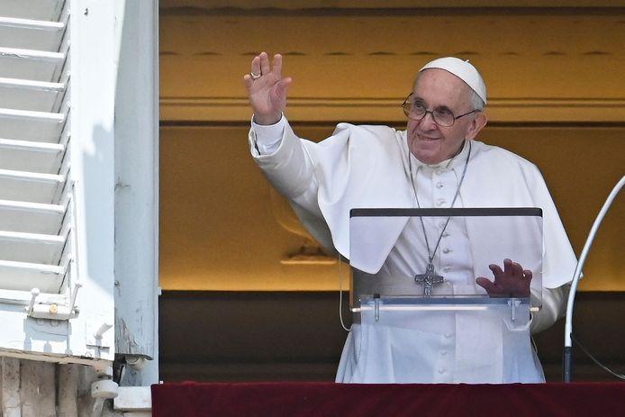 Paus Franciscus afgelopen zondag in Rome.
