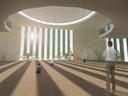 Impressie van het interieur van de nieuwe moskee