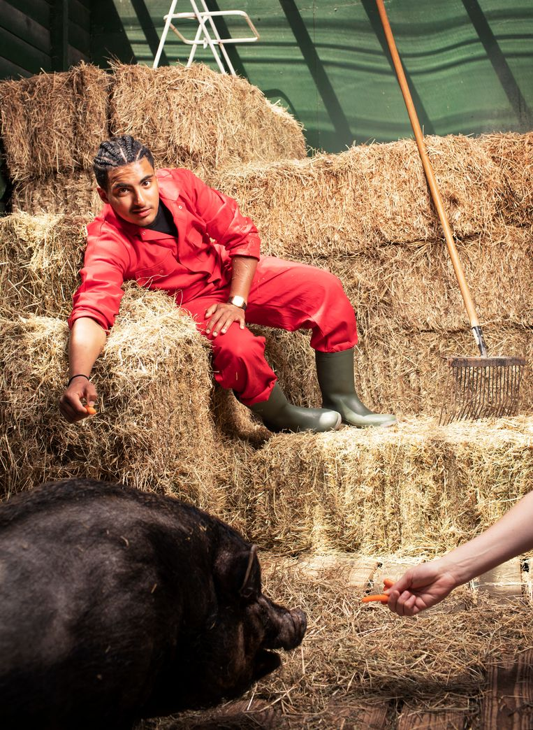 Ayoub Louihrani: 'Om halfzes sta ik in de melkput. Voor mij betekent die tijd ook dat ik me kan voorbereiden op de dag, nog voordat die is begonnen.' Beeld Harmen de Jong