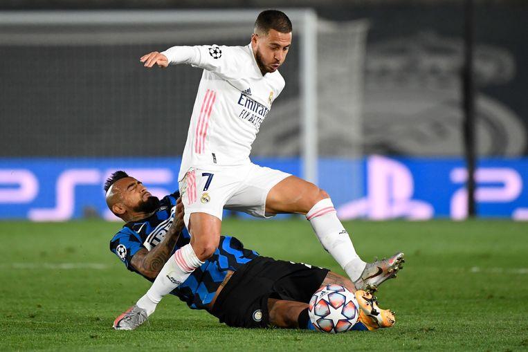 Landgenoot Eden Hazard stond in het basiselftal van Real Madrid, net als keeper Thibaut Courtois. Beeld AFP