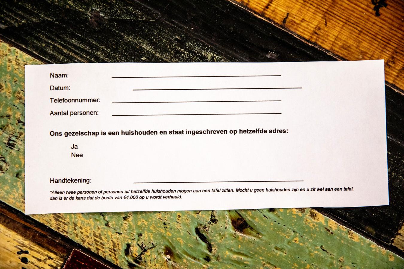 Het 'contract' dat The Hangar sommige groepen gasten laat tekenen.