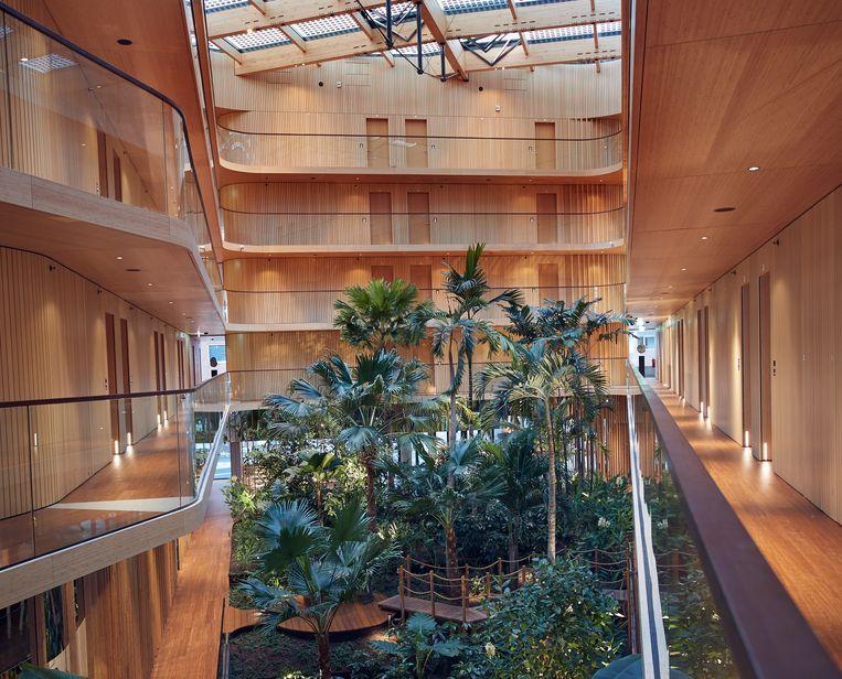 Interieur van Hotel Jakarta in Amsterdam, vrijwel geheel uit hout opgetrokken door architect Bjarne Mastenbroek. Beeld Sander Baks
