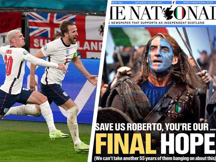 Links: Kane en Foden juichen. Rechts: Schotten hopen op nederlaag Engeland.