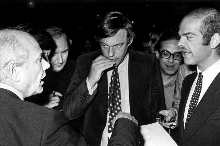 1972. Den Uyl (PvdA), Van Mierlo (D66) en De Gaay Fortman (PPR) willen een blok vormen Beeld Ruud Hoff/ANP