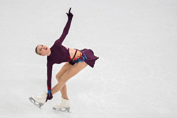 Lindsay van Zundert uit Etten-Leur tijdens haar korte kür in Stockholm. De score van 57.72 was goed voor een plek in de finale.
