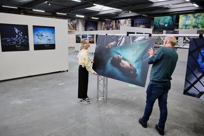 Kim de Hoop en Marcel Kollen leggen de laatste hand aan Fotofestival Schiedam dat donderdag van start gaat.