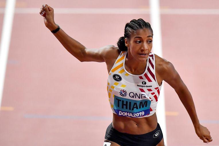 Thiam tijdens haar 200m Beeld BELGA