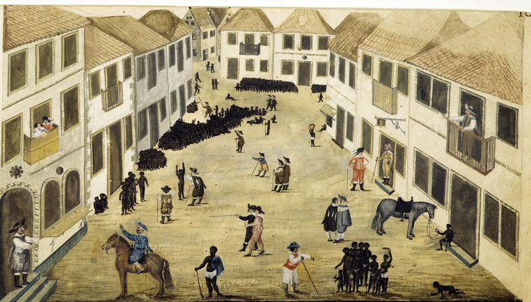 De slavenmarkt in Recife, van Zacharias Wagener Beeld Rijksmuseum