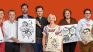 Twintig Denderleeuwse ondernemers verdelen draagtassen met hun eigen karikatuur
