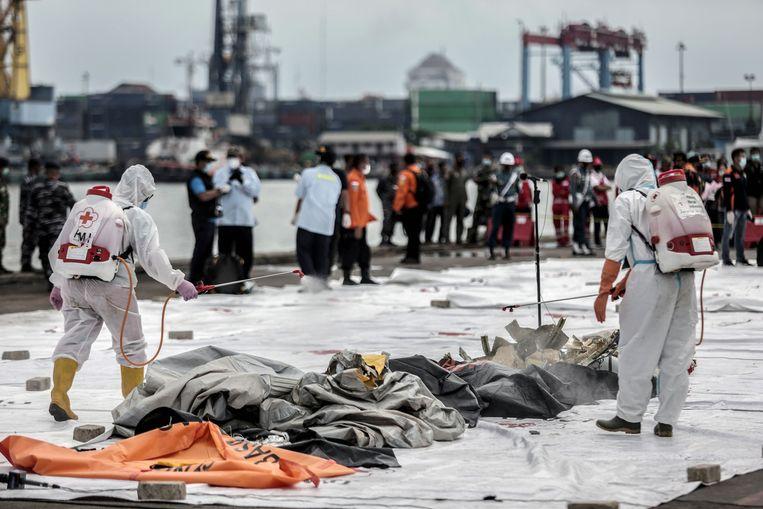 De lijkzakken van de overledenen worden aan land gedesinfecteerd. Beeld AFP