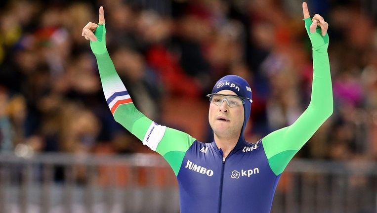 Sven Kramer, reeds jaren de absolute heerser op de 5.000 meter, tekende voor zijn twaalfde opeenvolgende WB-zege Beeld anp