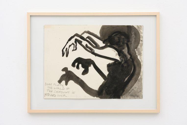 De tekening van Marlene Dumas uit 1988 verwijst naar de 'Allegorie van de grot van Plato'. Beeld Peter Cox