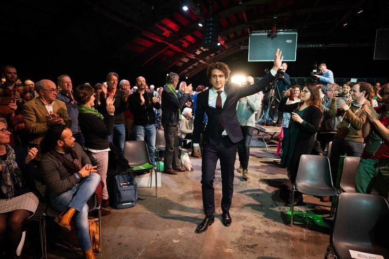 GroenLinks-leider Jesse Klaver op het partijcongres eerder deze maand waar de motie over de BDS-beweging werd aangenomen.  Beeld  ANP, Martijn Beekman