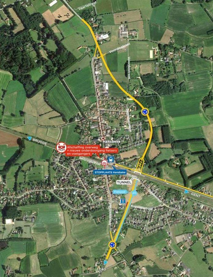 De nieuwe rondweg van Hansbeke.