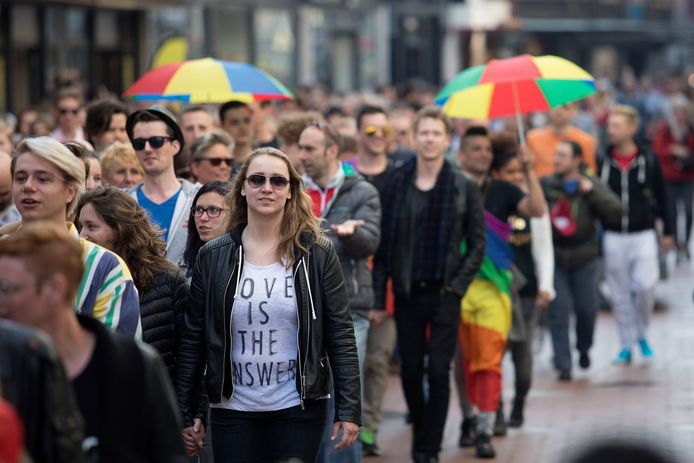 Een protestmars tegen homogeweld bracht in Eindhoven in 2017 heel wat mensen op de been.