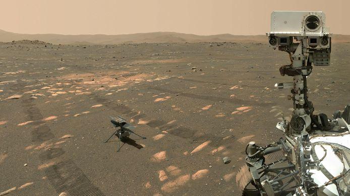 Een foto van de Ingenuity Mars-helikopter die vorige week genomen op de rode planeet vanaf de Mars-rover.