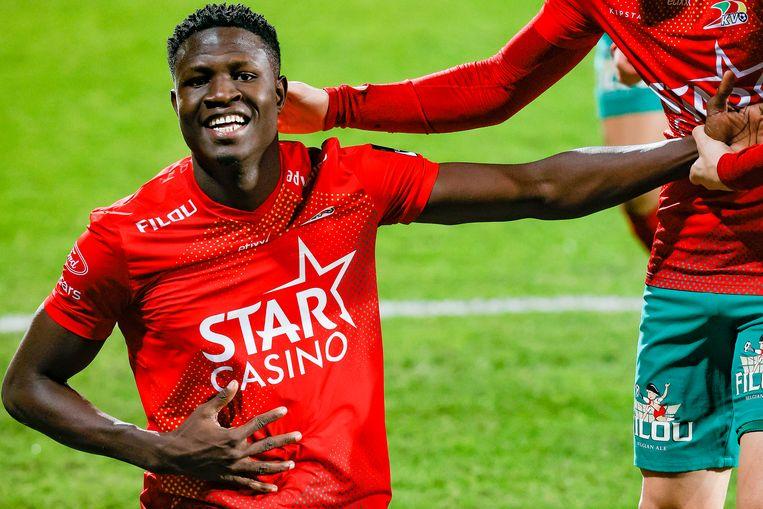Makhtar Gueye is de ster van de avond bij KV Oostende. Beeld BELGA