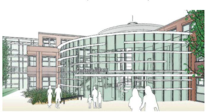 Schetsontwerp van het nieuwe gemeentehuis.