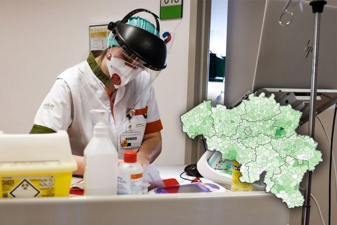 Op de kaart worden de huidige coronabesmettingen weergegeven. Donkere tinten groen geven meer besmettingen aan.
